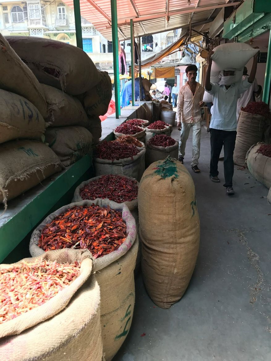 Scene in the red chillis section of the spice market