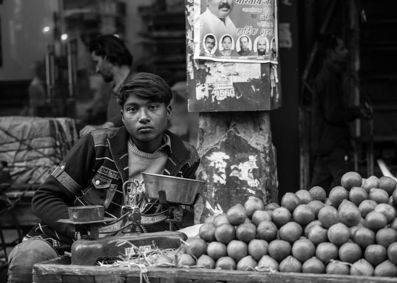 A young fruit vendor