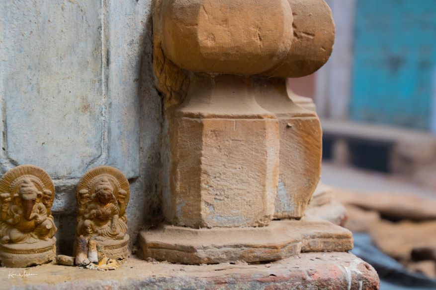 Old idols on wall of a houseOld idols on wall of a house
